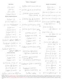 integral table for electromagnetism