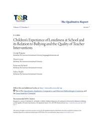 Children's Experience of Loneliness at School and its Relation to Bullying and the Quality of Teacher Interventions