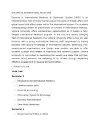Diploma IN International Relations