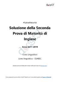 Soluzioni della seconda prova di Inglese - Maturità 2018