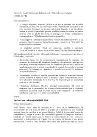 Tema 1 Contemporánea de España, Apuntes de Historia de España