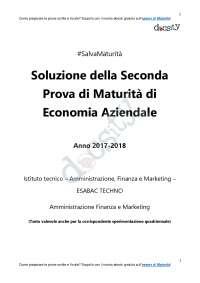 Soluzioni della seconda prova di Economia Aziendale - Maturità 2018