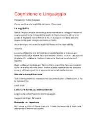 appunti cognizione e linguaggio