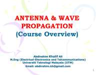 Antenna and wave propagation course overview, Lecture notes for Antenna Theory and Analysis
