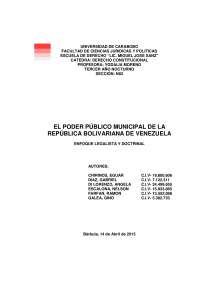EL PODER PÚBLICO MUNICIPAL DE LA REPÚBLICA BOLIVARIANA DE VENEZUELA