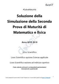 Simulazione seconda prova di maturità 2019 - Matematica e Fisica