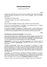 Appunti Psicolinguistica 2018/19 Lugli 6cfu