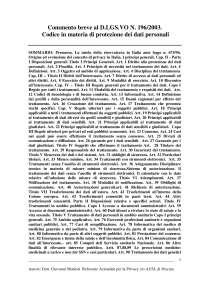 Commento breve al D.LGS.VO N. 196/2003. Codice in materia di protezione dei dati personali