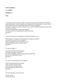 TEST LEZIONE 7 SOCIOLOGIA GENERALE