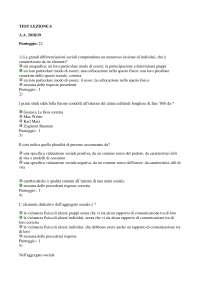 TEST LEZIONE 6 SOCIOLOGIA GENERALE