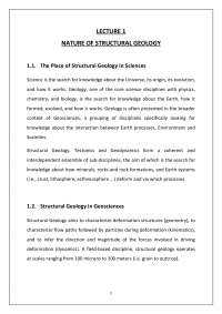 Fault structure NATURE OF STRUCTURAL GEOLOGY