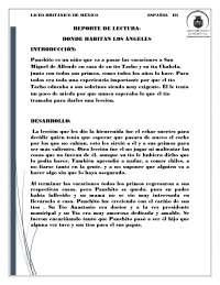 REPORTE DE LECTURA  SOBRE ENERO DEL AÑO PRESENTE