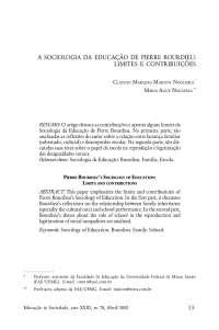 A Sociologia da Educação de Pierre Bourdieu: Limites e Contruibuições