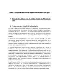 Tema 3:  La participación de España en la Unión Europea