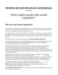 """Tesina Sociologia Generale : """"Analisi sulle società cooperative"""""""