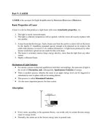 Advanced laser notes