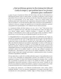 ¿Qué problemas genera la discriminación laboral contra la mujer y qué podrían hacer los jóvenes peruanos para combatirla?