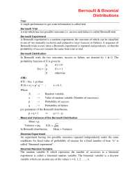 Helpful Notes for Binomial Distribution