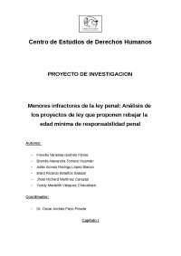 MENORES INFRACTORES DE LA LEY PENAL