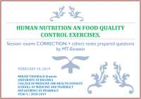 HUMAN NUTRITION AND FOOD QUALITY CONTROL
