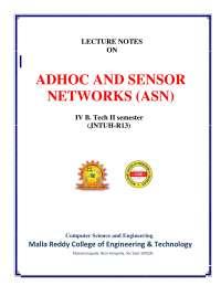 Adhoc and sensor network lecturer notes