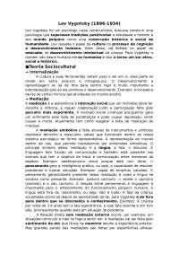 Resumo sobre Lev vygotsky