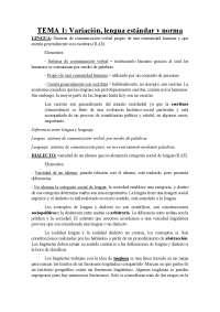 Tema 1: Variación, lengua estándar y norma