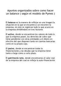 Balance de Pymes y ratios financieros