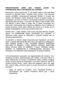 PRESENTAZIONE LIBRO SULLA FORMAZIONE E SICUREZZA