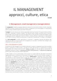 Il management, approcci cultura etica