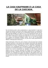 Comentario de LA CASADA DE LA CASCADA o LA CASA KAUFMANN de Frank Lloyd Wright