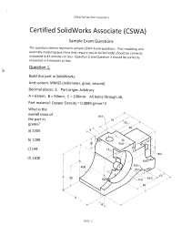 CSWA Solidworks Exam