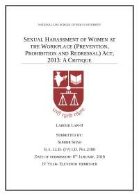 Sexual Harassment at Workplace Act, 2013