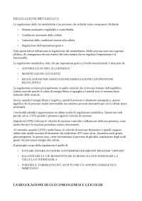 Regolazione dei processi metabolici e tipi di regolazione