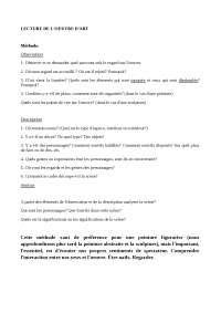 le méthode pour lire une ouvre d'Art en français