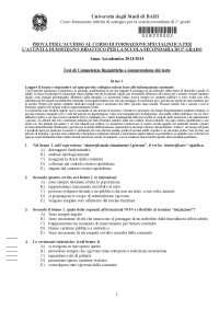 Uniba Sostegno TFA I ciclo - Test Scuola Secondaria di I grado
