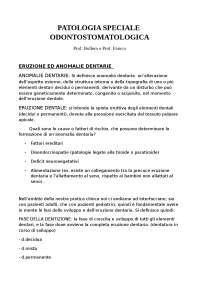 Patologia Speciale Odontostomatologica - Prof. Bollero