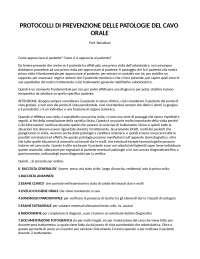Protocolli di prevenzione delle Patologie del cavo orale - Prof. Barlattani