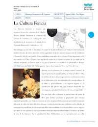 LA CULTURA FENICIA - CUESTIONARIO