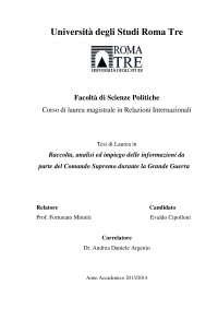 Raccolta, analisi e impiego delle informazioni da parte del Regio Esercito Italiano durante la Prima Guerra Mondiale