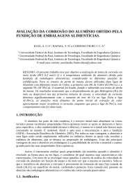 AVALIAÇÃO DA CORROSÃO DO ALUMÍNIO OBTIDO DE EMBALAGENS ALIMENTICIAS