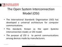 The Open System Interconnection Model (OSI) Hand Notes