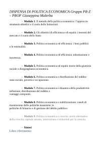 DISPENSA DI POLITICA ECONOMICA PROF. GIUSEPPINA MALERBA GRUPPO PR-Z ANNO 2019 UNIVERSITA' CATTOLICA
