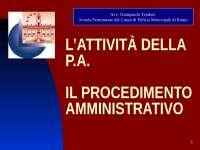 L'ATTIVITÀ DELLA P.A.IL PROCEDIMENTO AMMINISTRATIVO