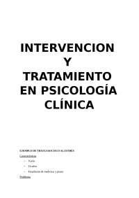 INTERVENCIÓN Y TRATAMIENTO EN PSICOLOGIA CLINICA
