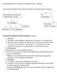 Introduction to American Documentary Film Summary