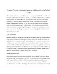 Changing trends in institution of marriage