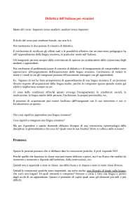 Appunti didattica dell'italiano per stranieri