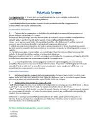 Appunti per l'esame di Psicologia Forense Unipd