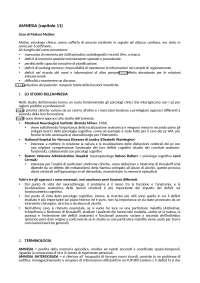 AMNESIA (RIASSUNTO CAPITOLO 11 DEL LIBRO MEMORIA DI BADDELEY)